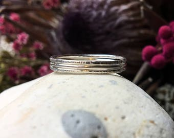Skinny sterling silver stacking rings set of three, Delicate rings, Thin hammered rings, Simple rings, Thumb rings set, Minimalist rings