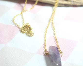 Natural amethyst break in gold with chain stone No. 7