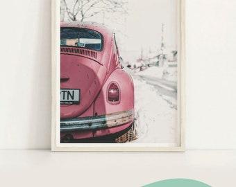 VW Beetle Poster print Minimalist Vintage Car wall art photography Dusty rose pink art print Living Room Wall Decor Volkswagon Printable art