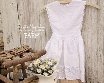 1950s Girls White Cotton Eyelet Dress Pinafore - Handmade - Apron - Sundress - Shabby Cottage Country Chic