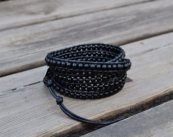 Leather Agate Bracelet Black Agate Wrap Bracelet Beaded Bracelet Leather Wrap Bracelet 4mm Beaded Bracelet with Black Leather Cord