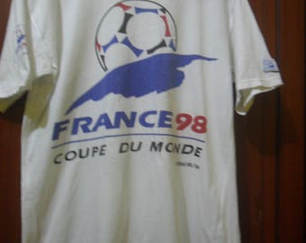 Vintage 90s France Coupe Du Monde Football T shirt/Size M/Fabrique En Turquie