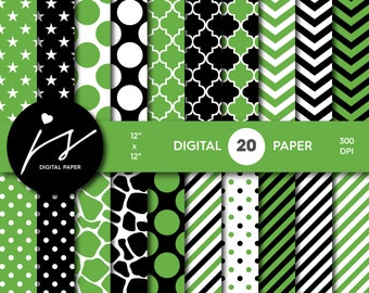 Black and green digital scrapbook paper pack, Digital paper pack, Digital backgrounds, Printable paper, Commercial use, PA-196