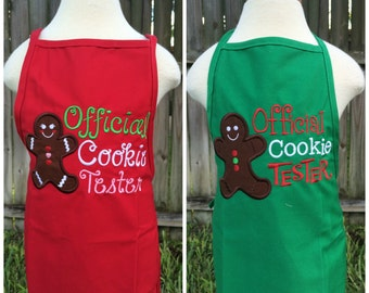 Official Cookie Taster Gingerbread Apron Set - Personalized Apron - Personalized Gingerbread - Girl - Toddler -Baby