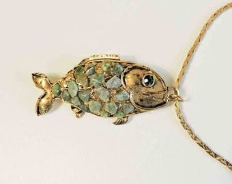Vintage Fish Pendant With Jade Stones Rhinestone Eye and Gold Filled Chain