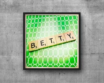 BETTY - Name Art - Scrabble Tile Name - Art Photo - Photography Art Print - Name Sign