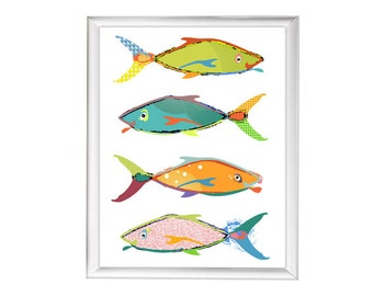 fish print fish art print abstract art kids bathroom art kids bathroom decor beach art coastal art beach house art colorful fish wall art