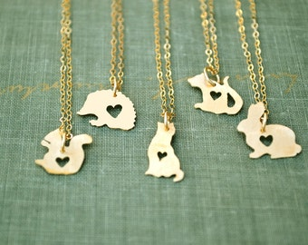small gold animal necklace, mouse, cat, hedgehog, rabbit, whale, squirrel, rat, animal lover, dainty gold necklace, tiny gold necklace