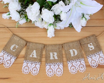Wedding Cards Banner Burlap Bunting Rustic Wedding banner for Card Box Cards sign Burlap banner Cards Bunting Burlap and Lace