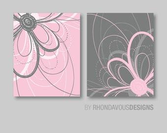 Flower Art Prints - Flower Bathroom Art, Flower Bedroom Decor, Dahlia Flower Bath, Flower Wall Art, Flower Nursery Art, Pink Gray (NS-427)