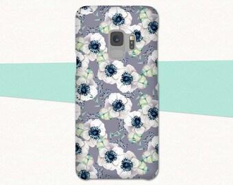 White Flower Galaxy S9 Case, Gray Galaxy S9 Plus Case, S9 Phone Case, Flowers Marble, Galaxy S9, Samsung Galaxy S8 Case, S8 Plus, Note 8, S7