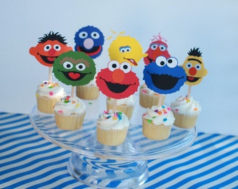 Sesame Street cupcake toppers, Sesame Street inspired birthday cupcake toppers set of 12