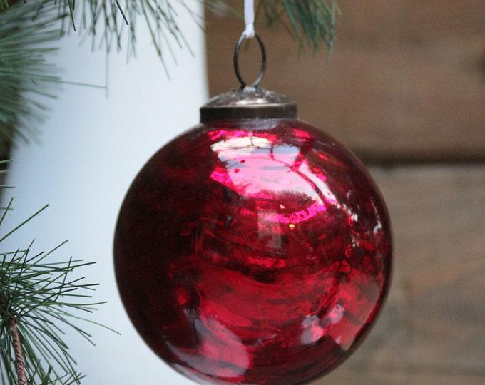 Vintage Kugel Style Crackle Heavy Mercury Glass Christmas Ornaments, Holiday Collectable, Holiday Seasonal Decor, Glass Christmas Tree Ball