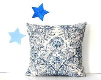 Fleur De Lis Pillow Cover, 18x18 Blue White Accent Pillow, Sofa Cushion Cover, Bedroom Sham, Navy Blue Throw Pillow