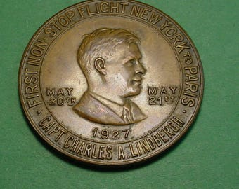 Charles Lindbergh Good Luck Token / Medal 1927 Spirit of St Louis 32 mm Nice Condition <>#6879