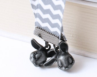 Kawaii Ribbon Bookmark - Shy Bunnies, Gray Chevron Stripes on White Grosgrain Ribbon, Gunmetal Finish, Choice of Length