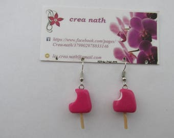 earring type polymer clay raspberry ice