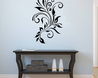 Wall Vinyl Decal Abstract Swirly Flower