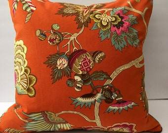 Bright Orange Woodsy Element Decorator Throw Pillow Cover 20 Inch Square