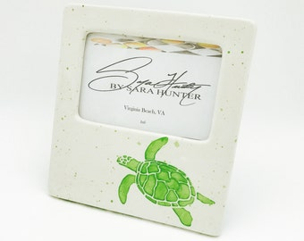 Picture Frame. Sea Turtle Picture Frame. Sea Turtle. Turtle. Sea. Sea Life. 4x6. Handmade by Sara Hunter