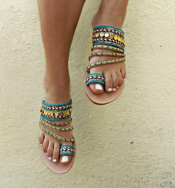 Sandals sandals 'TURQUOISE' sandals Greek Women Handmade Flats Gypsy Leather Sandals Sandals Shoes Boho Boho qBU7wU0X