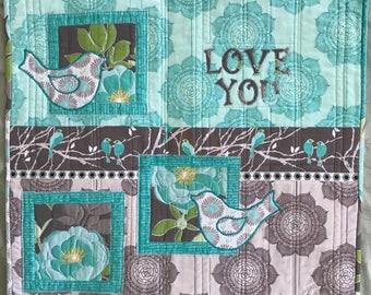 Love you quilted raw edge appliquéd wall hanging, fiber art, art quilt, birdies, wall art