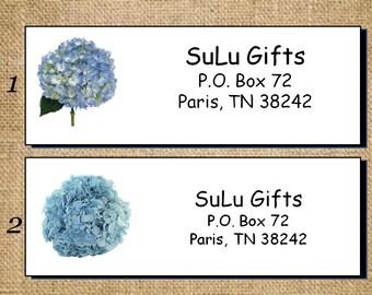 SALE Blue Hydrangea Personalized Address Labels - Return Address Labels Customized Floral design