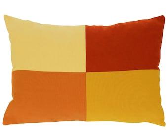 Colorblock Pillow, Light goldenrod, Dark red, Dark orange, Goldenrod Pillow, Decorative pillow 12x18 inch, Oblong pillow