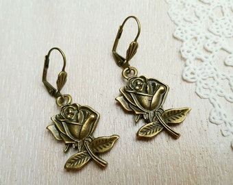 Vintage Style Bronze Tone Earrings with Roses Boho Earrings Roses Earrings