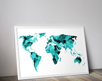 Original watercolor heart shaped map of the world travel teal world map watercolor map travel art gumiabroncs Choice Image