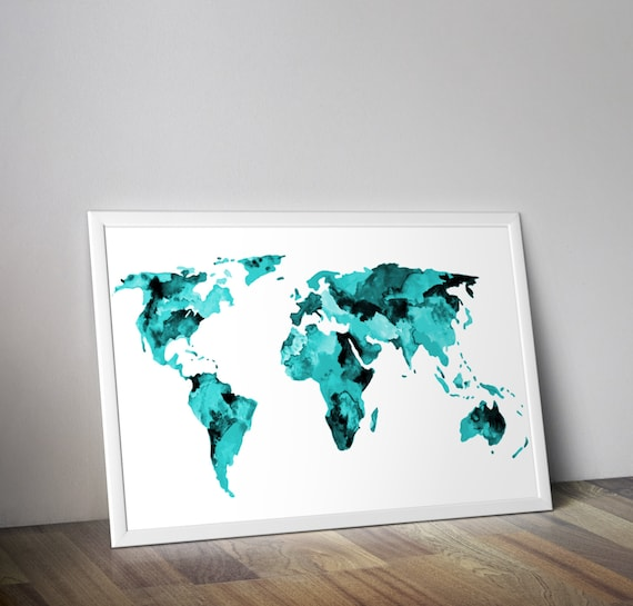 Teal world map watercolor map travel art gumiabroncs Images
