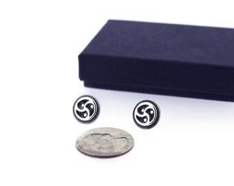 BDSM Symbol Earrings, Sterling Silver, BDSM Jewelry, Triskele, Triskelion logo.