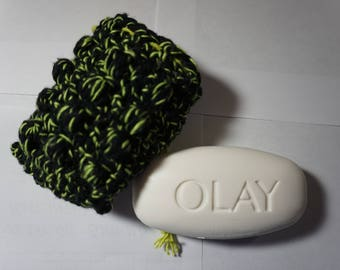 Green and Black Crochet Soap Saver