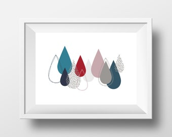 "Modern Art Printable, Handmade, DIY Graphic Wall Art, ""Floating Drops"", Instant Download, Wall Decor, Contemporary, Poster, Abstract"