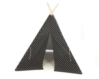 SALE!! Poles Included Teepee Play Tent Black Small Cross Four Panel