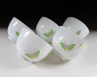 Set of Five Mino-ware Butterfly Tea Cups, Koedo