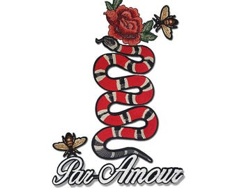 Embroidered Snake Patch Applique, Bulk Mix Patches Badges for Fashion Crafts 5 pcs