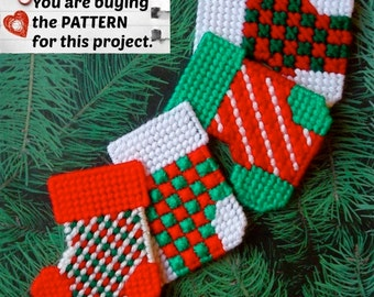 """Plastic Canvas Pattern: Christmas Stockings -- """"Checks and Stripes"""" (4 designs) ***PATTERN ONLY***"""