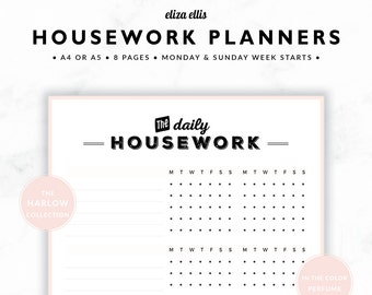 HOUSEWORK PLANNERS / Home Organizer / 2018 Planner / Home Planner / Home Organization / Organizer / The Harlow Planners in Perfume / 422