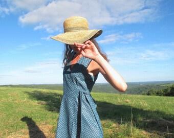 Maud Dress, the Unique- Vintage cotton dress-Wrap dress-Blue cotton dress