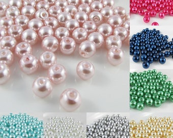 20g 65+ pcs Round Glass Pearl Beads 6mm Select from 12 colours