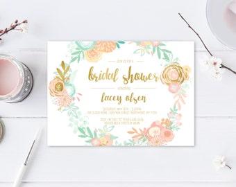 Bridal Shower Invitation, Bridal Shower Invite, Boho Bridal Shower Invitation, Printable Bridal Shower Invitation, Flowers, Floral [435]
