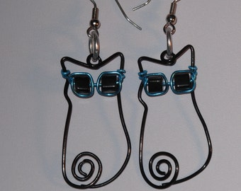 Wire Wrapped Cool Cat Earrings Wearing Sunglasses MADE to ORDER