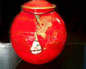Small Handcrafted Raku fired Porcelain Urn Forever in Red with matching Blown Glass Pendant. Pet Memorials, ashes in glass
