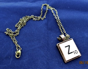 SCRABBLE INITIAL Z NECKLACE with chain