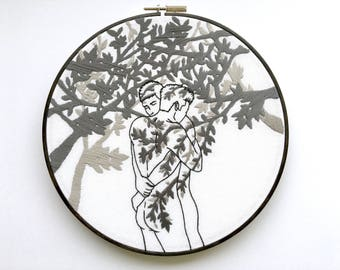 """Embroidery art """"In the shade of the tree"""" / Embroidery hoop art / Gay art"""