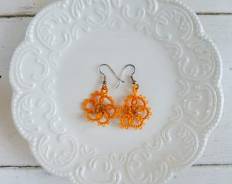 Tatted earrings, tatted lace, orange tatted lace, hook earrings, orange earrings, tatted jewelry, lace jewelry, gift idea, ready to ship