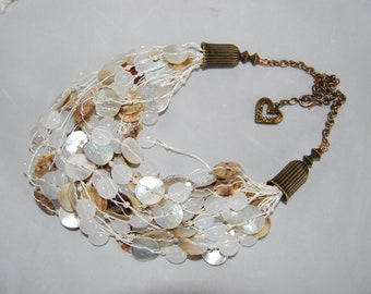 Mother of Pearl Multi-Strand Statement Necklace Bold Chunky Multi-Strand Jewelry Necklace OOAK wedding jewelry bride necklace one of a kind