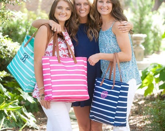 Personalized Beach Bag, Monogrammed Beach Bag, Mother's Day Gift, Embroidered Beach Bag, Large Tote Bag, Striped Beach Bag