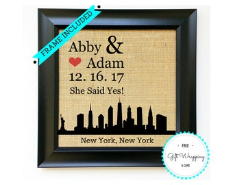 NEW YORK CITY Engagement Gifts for Couple - New York Engagement Gift for Couples - Engaged in nyc Skyline - Personalized Wedding Presents